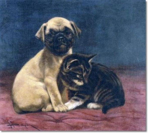 A Safe Refuge - Pug and Kitten John Henry Dolph