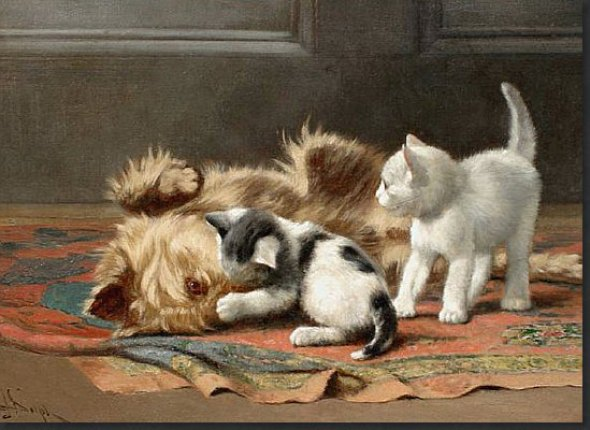Dog and Kittens John Henry Dolph Private Collection American cat in art