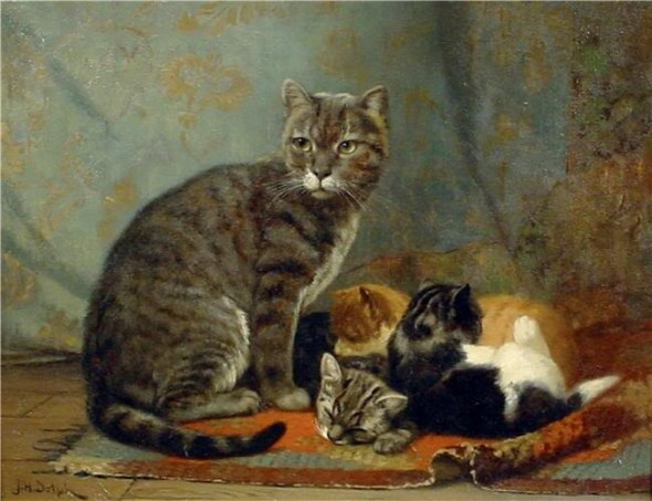 Mother and Her Kittens John Henry Dolph Private Collection