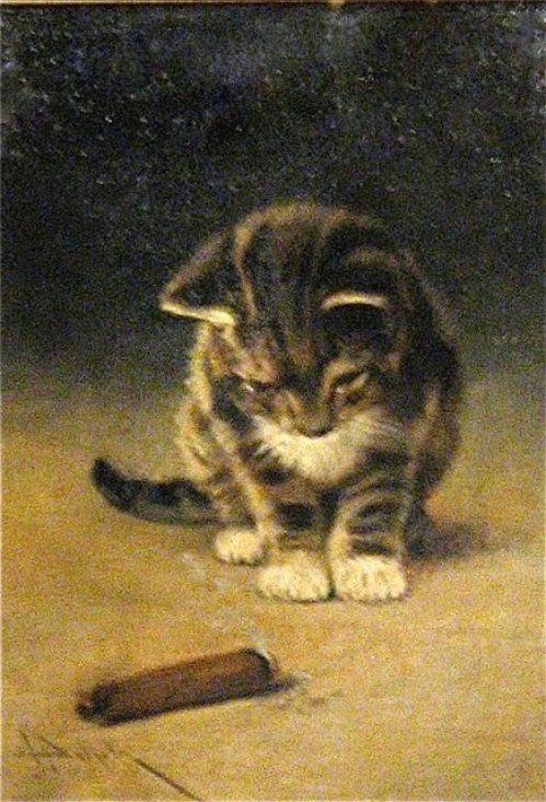 Kitten and Cigar John Henry Dolph Private Collection