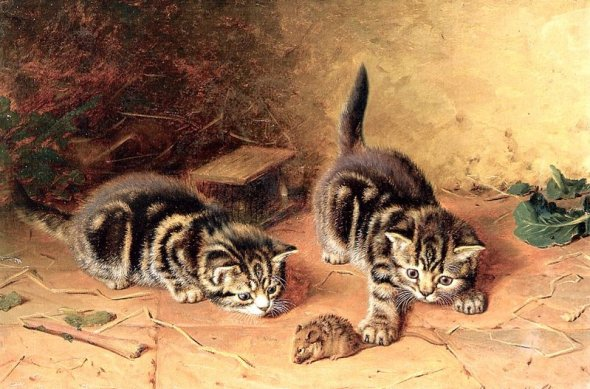 Kittens with a Mouse Horatio Henry Couldrey Private Collection