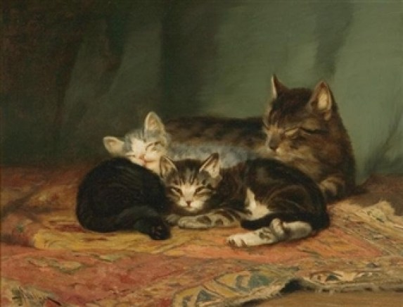 Mother and Two Kittens John Henry Dolph Private Collection