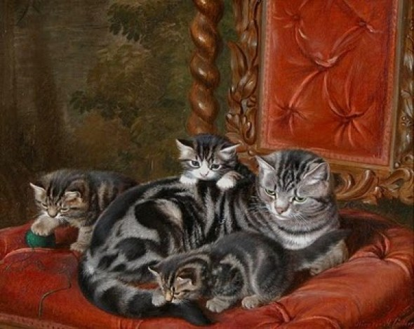 The Family Tabby Cat and Her Three Kittens Horatio Henry Couldery Private Collection