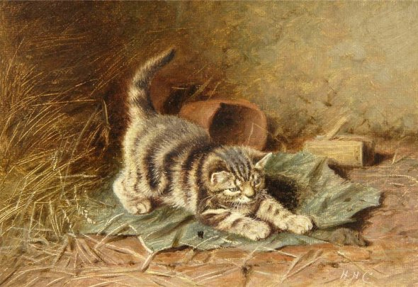 Kitten Playing Horatio Henry Couldery Private Collection