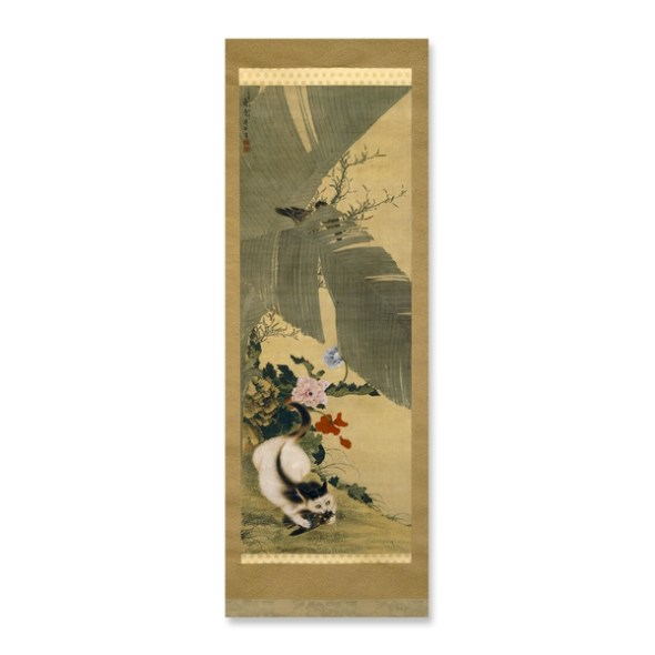 Cat Killing a Bird Hanging Scroll Edo Period 1782 Gan Ku British Museum, cats in asian art