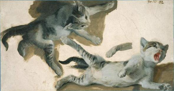 Sketches of a Kitten Alexandre Francoise Desportes Private Collection cats in art, Perronneau, Crespi, Desportes