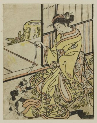 Woman Playing with a Cat Edo Period cats in japanese art
