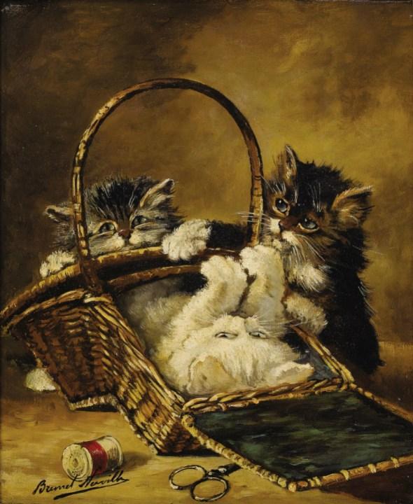Kittens in a Basket Alfred Arthur Brunel de Neuville