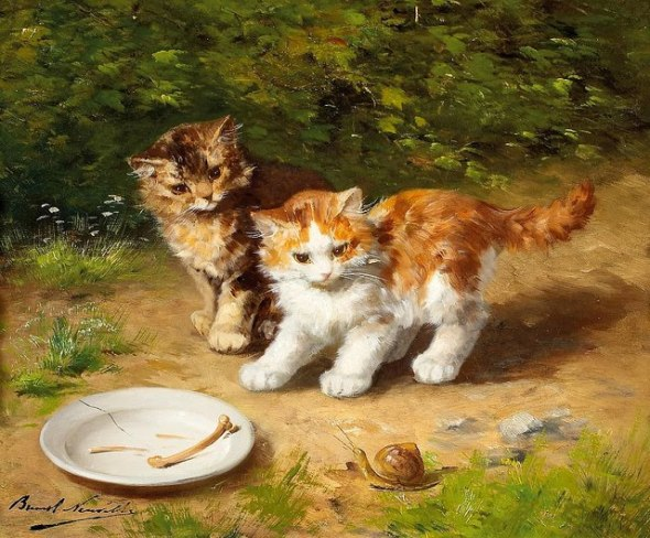 Two Kittens with a Snail kittens in art