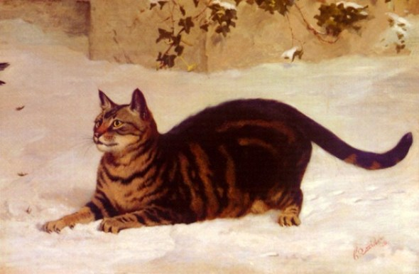 Cat in the snow cats in paintings