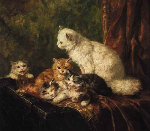 Mother and Kittens Brunel de Neuville