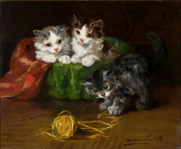 Three Kittens Playing with String Brunel de Neuville