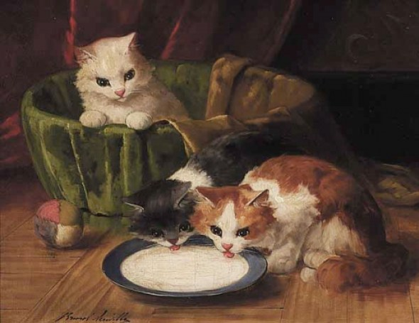 Two Hungry Kittens Brunel de Neuville