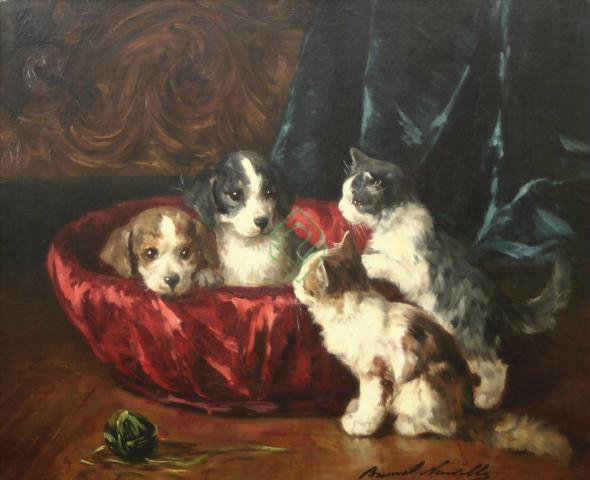 Two Kittens and Two Puppies - Brunel de Neuville