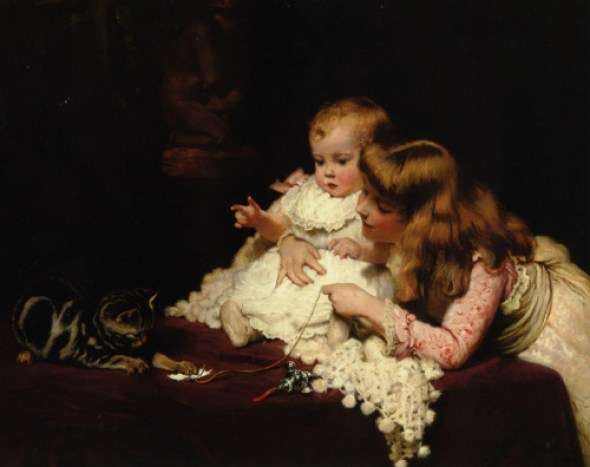 Playmates 1885, cats in art