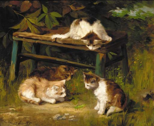 Kittens Playing with a Grasshopper kittens in art