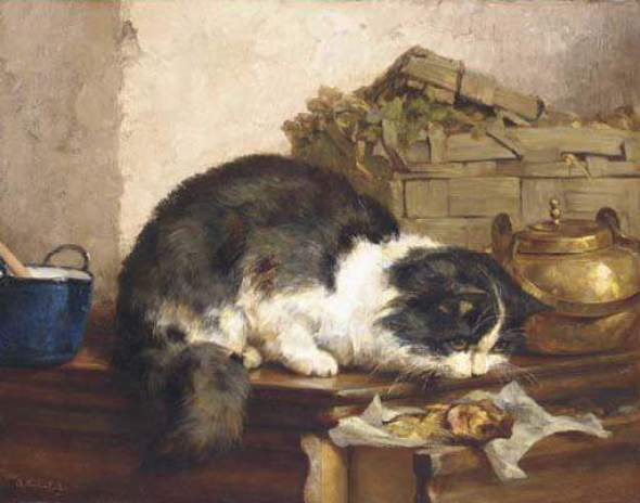 A Cat in the Kitchen Charles Van den Eycken private collection cats in art