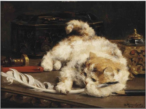 Kitten with a Feather, Charles Van den Eycken Private Collection