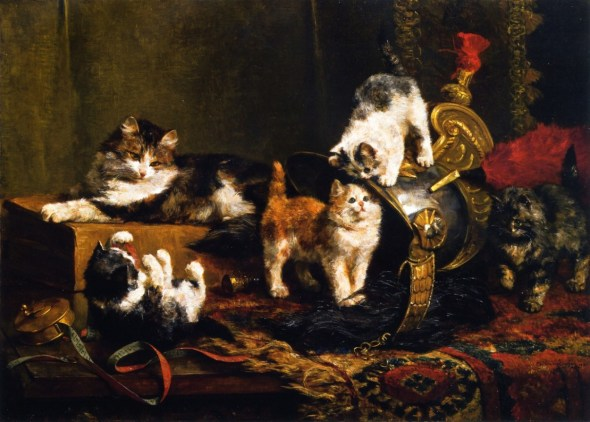 Kittens Playing with a Helmet, Charles Van den Eycken Private Collection kittens in paintings