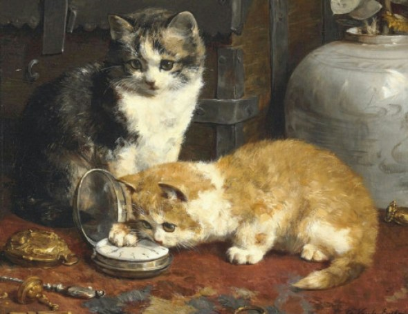Kittens Playing with a Watch, Charles Van den Eycken Private Collection