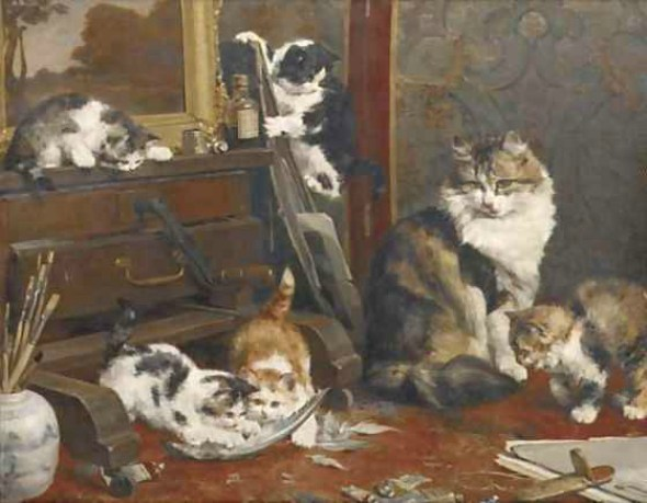 The Artist's Studio, Charles Van den Eycken Private collection cats in art