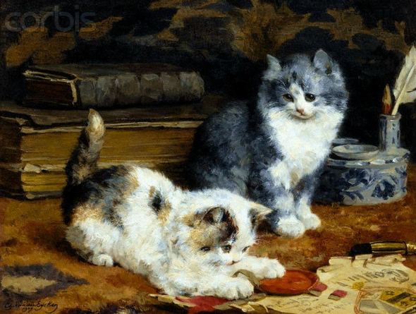 Two Kittens Playing on a Desk Charles Van den Eycken Private Collection