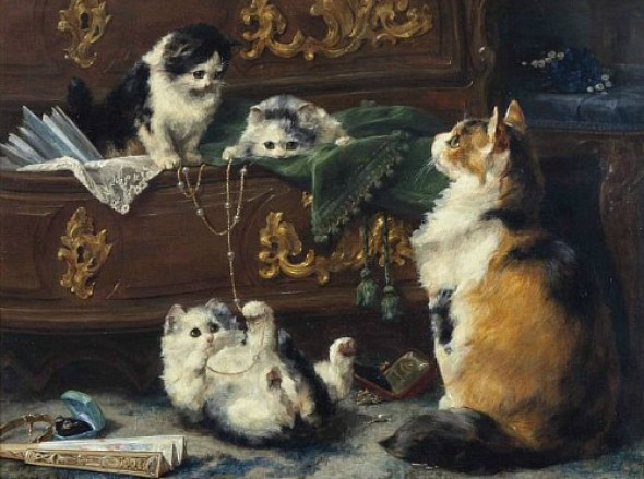 Cat with her Kittens 1896 Private Collection