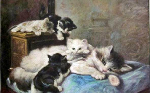 La Sieste Private, Charles Van den Eycken Collection cats in art