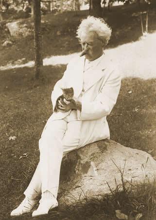 Mark Twain and Kitten vintage cat photos