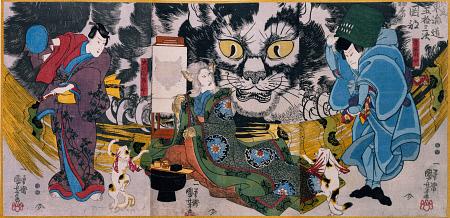 Cat Witch of Okabe Wood block print Utagawa Kuniyoshi 1865-Japanese demon cat