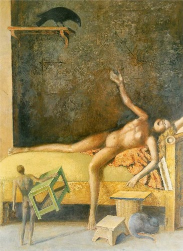 Great composition with a Crow and cat Balthus cats in art