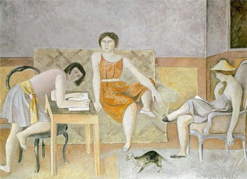 Three Sisters and a Cat 1965 Cats in Art
