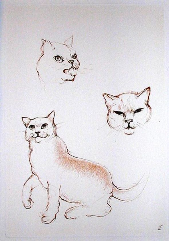 Passion Etching 1986 Leonor Fini cats