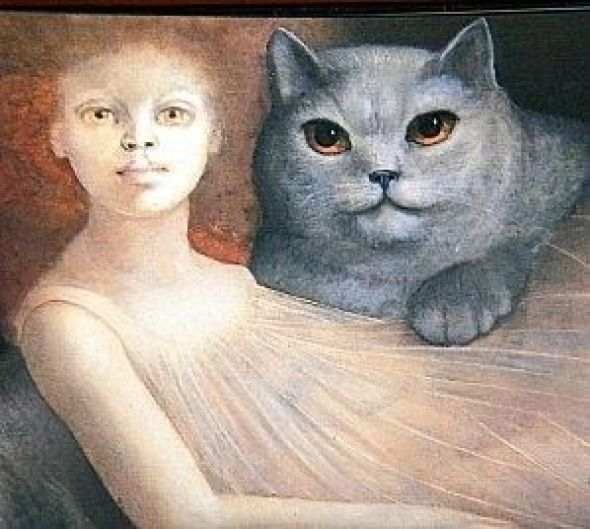 woman and a cat