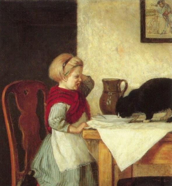 Adolf von Becker (Finnish, 1831-1909) Girl and Cat 1879