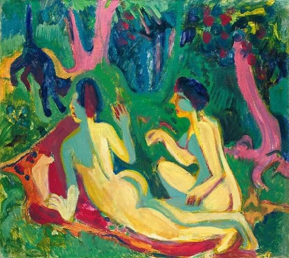 Ernst Ludwig Kirchner,Akte im Wald mit Katze (Nudes in the Woods with a Cat), cat paintings, expressionism