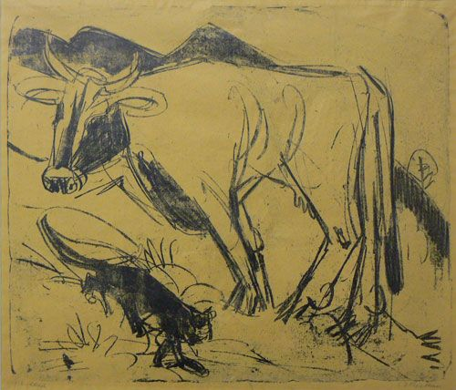 Kirchner Kuh und Katze Cow and Cat Lithograph