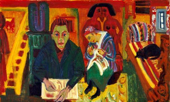 The Living Room 1920 Hamburger-Kunsthalle Ernst L Kirchner, cats in art