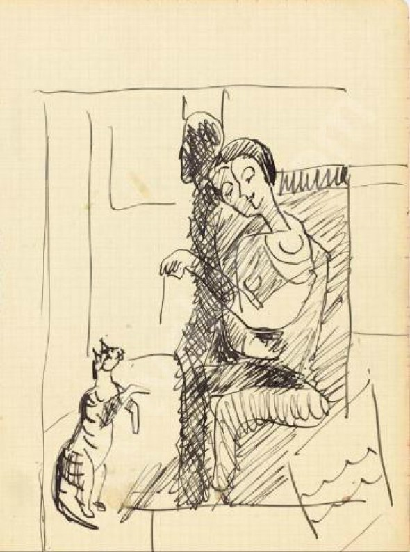 Erna Kirchner mit der Katze Erna Kirchner with the Cat (Bobby)
