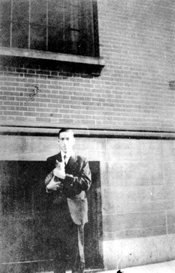 H.P. Lovecraft holding Frank Belknap Long's cat, Felis.