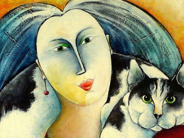 Cat People Carla Raadsveld, cats in art