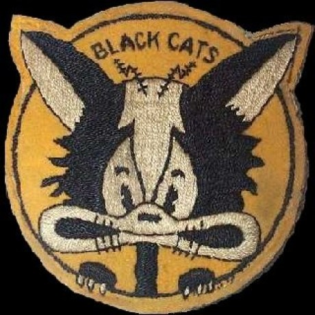 VPB-44 Black Cat squadron logo. It was designed during WWII by VP-44 pilot LT Don Black. Note the radar antennas on the top of the cat's head. (Established as Patrol Squadron FORTY FOUR (VP-44) on 3 June 1941. Redesignated Patrol Bombing Squadron FORTY FOUR (VPB-44) on 1 October 1944., cats in war