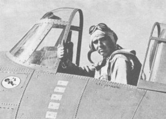 WWII LT Edward Butch O'Hare in a Grumman F4F-3 Wildcat The wartime censor has blanked out the famous Felix the Cat squadron insignia on this photo, cats in war
