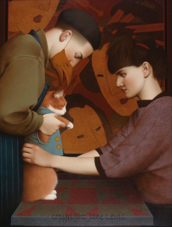 Jane Lewis, Dressing the Cat (1), cats in art