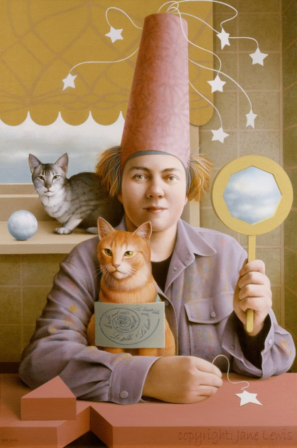 Jane Lewis, Stars and Clouds, cats in art