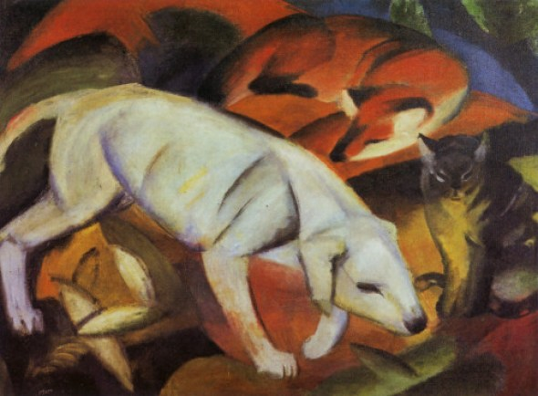 Franz Marc Dog, Fox and Cat 1912, cats in German expressionism