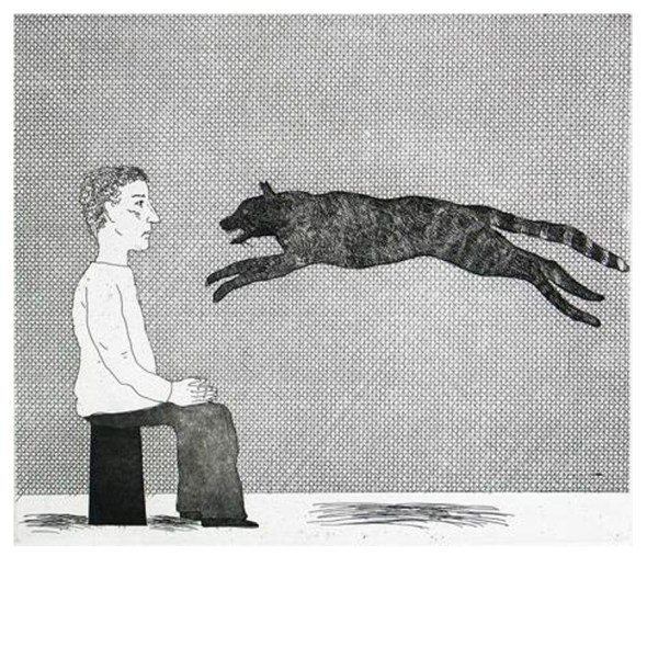 A black cat leaping (The Boy Who Left Home to Learn Fear) Hockney Illustrates the Fairy Tales of the Brothers Grimm
