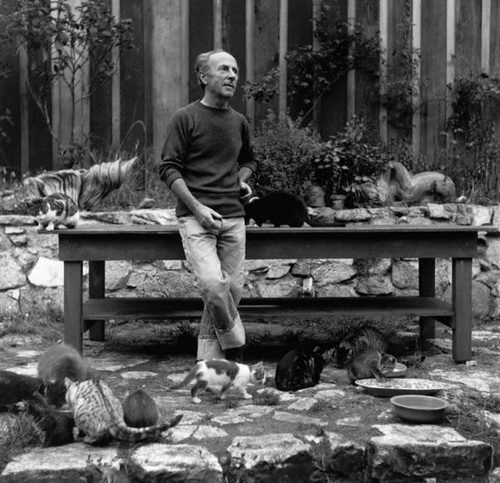 Edward Weston with his Cats Photographer: Imogen Cunningham