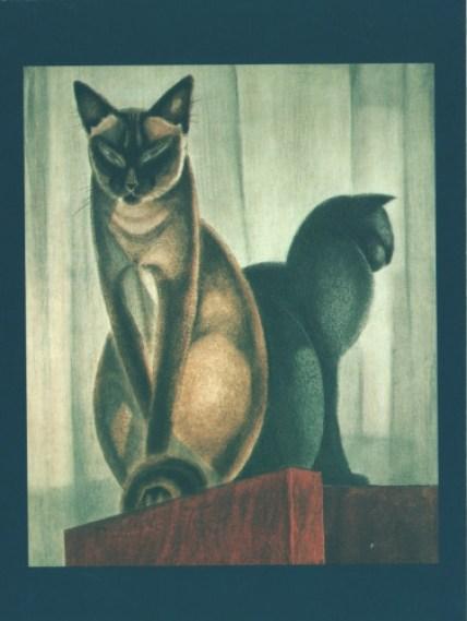 Two Siamese Cats, Lehmann Nam, siamese cats in art