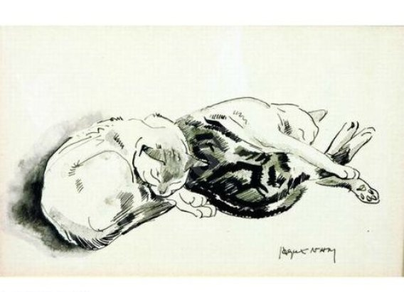 Deux chats couche, two sleeping cats, Jacques L Nam